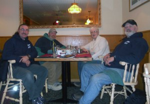 Handlers Lee and Brian with long-time Dawson City Host, Shirely
