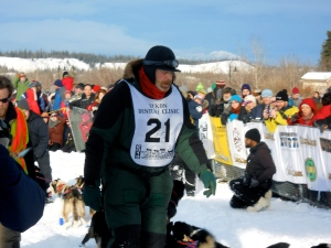 Walking down the team in his 23rd Yukon Quest Start.